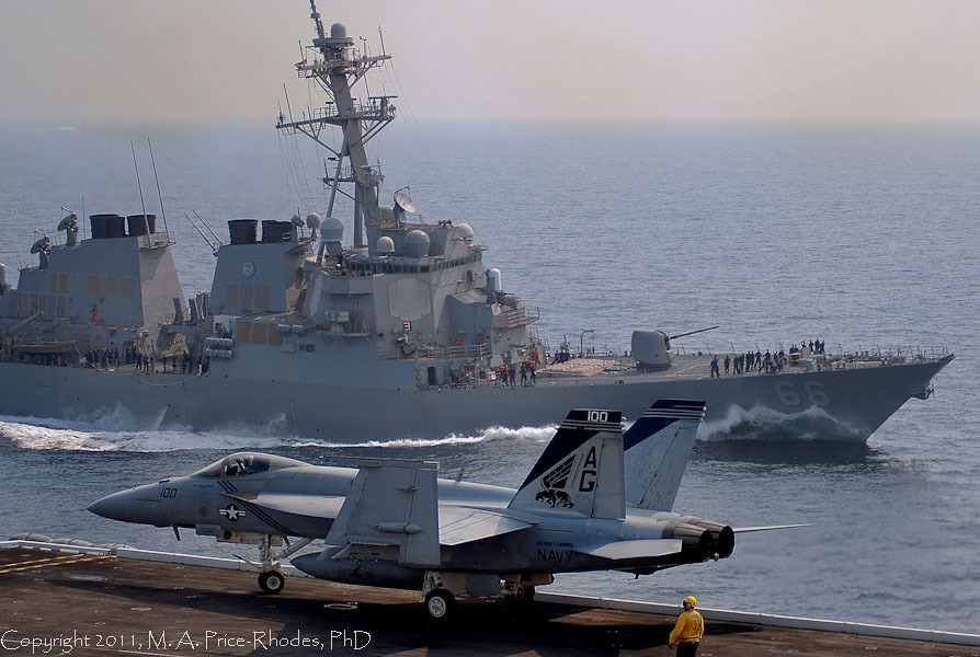F/A 18 Pukin Dogs (VFA-143)and USS GONZALEZ (DDG 66)